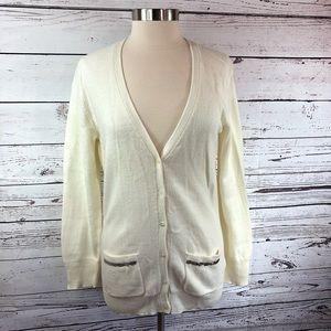 Old Navy white cardigan soft lightweight pockets